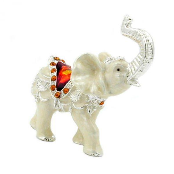 Elefant, emailliert, mit Glas-Steinen