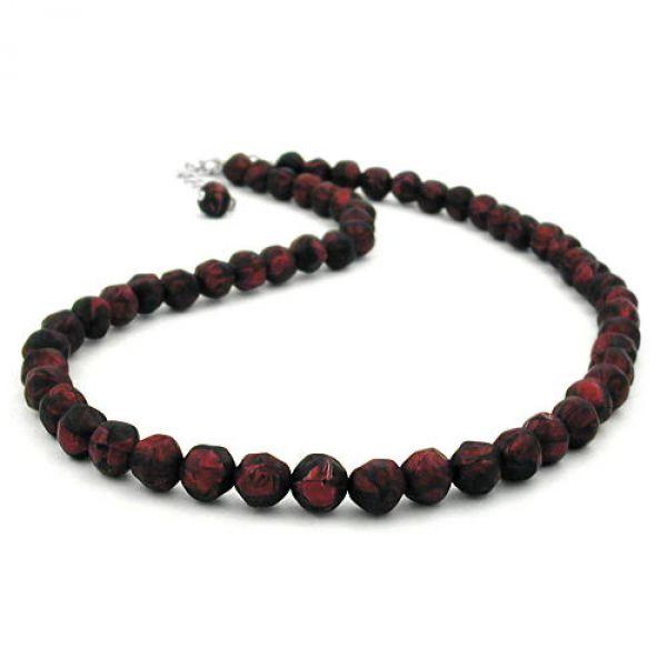 Kette, Barockperlen rot-schwarz, 50cm 50cm
