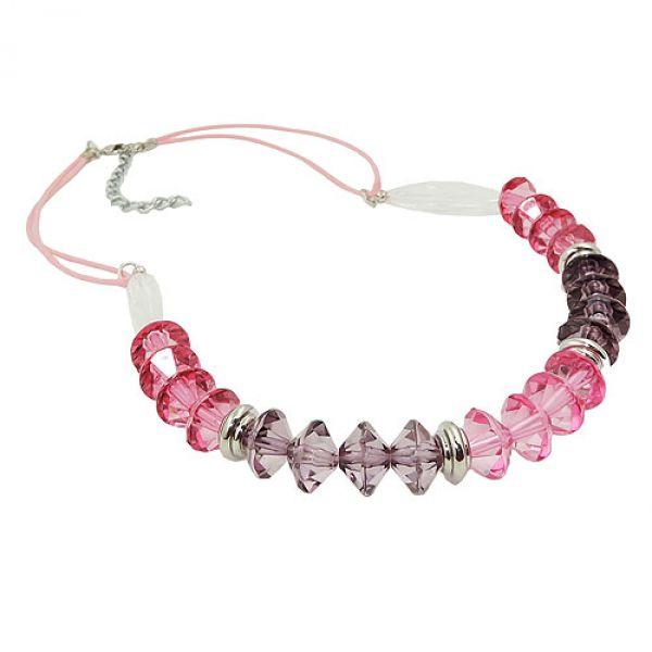 Kette, Facettenperle rosa-pink, Kordel