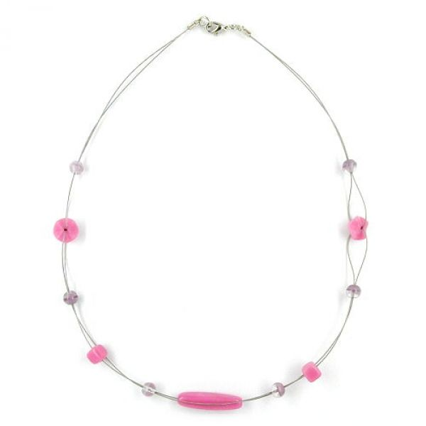 Kette, Glas, rosa-flieder, auf Draht