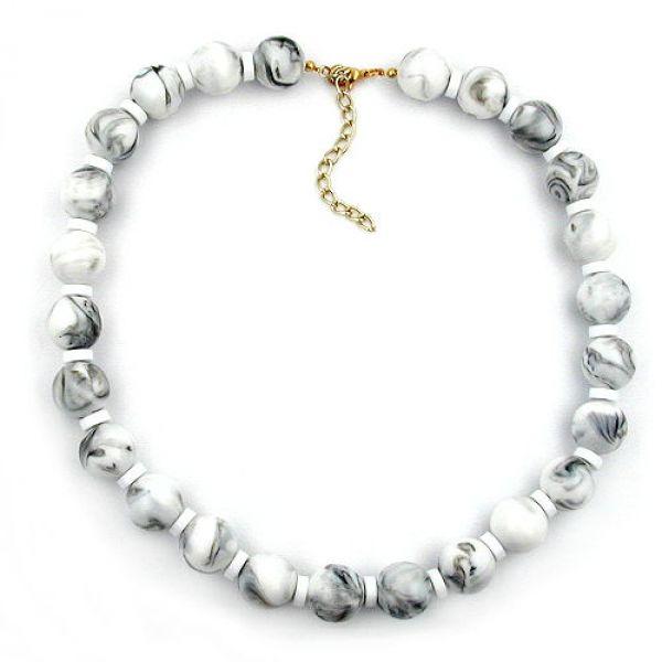 Kette, Perle, weiß-grau-marmoriert