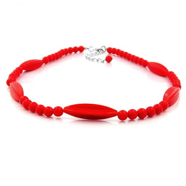 Kette, Rillenolive und Perle rot, 42cm 42cm