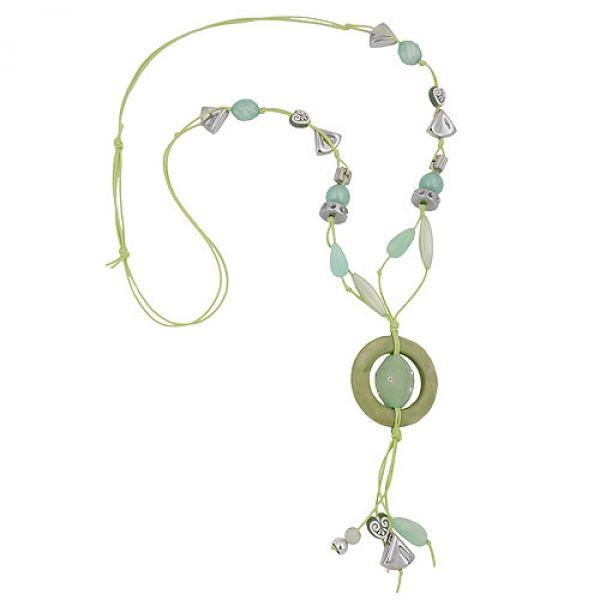 Kette, Ring oliv, Perlen mint-grün