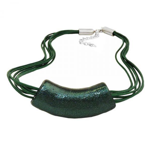 Kette, Rohr flach gebogen, grün-metallic