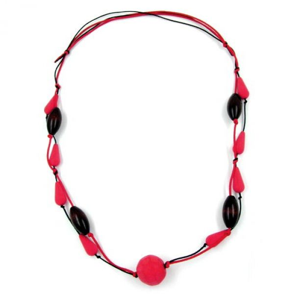 Kette, rot-schwarz, Perlen rot-braun
