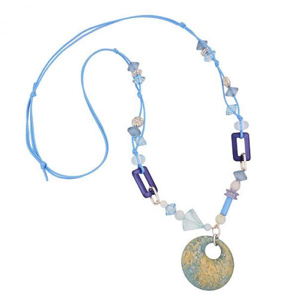 Kette, Scheibe blau türkis hellblau