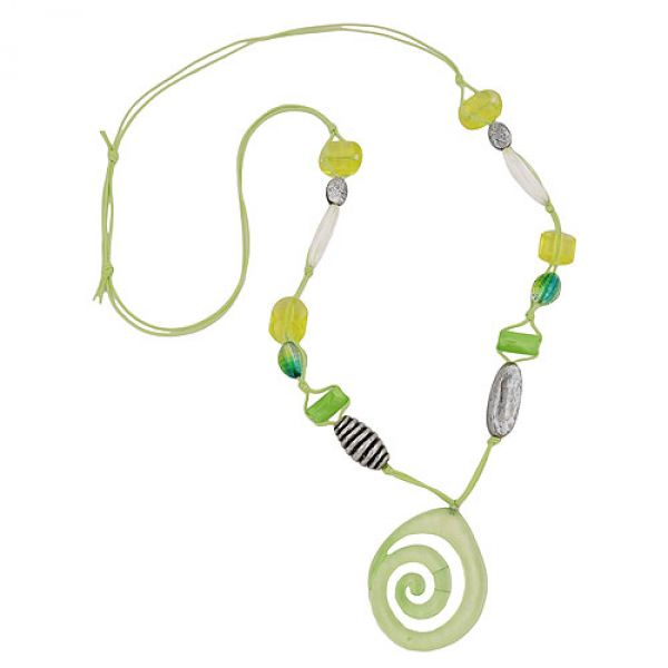 Kette, Schnecke grün, Perle altsilber