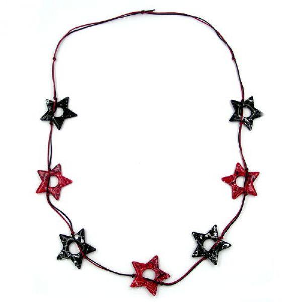 Kette, Sterne schwarz-si, rot-schwarz