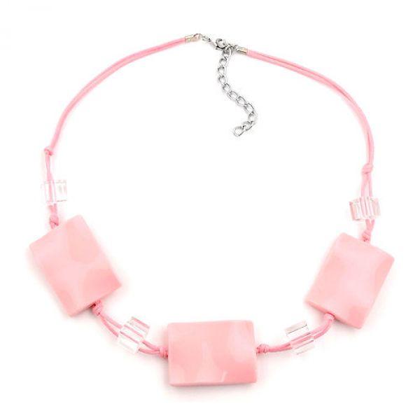 Kette, Viereck gewellt rosa-glänzend