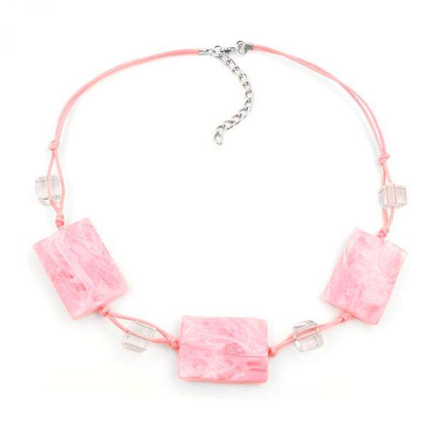 Kette, Viereck gewellt rosa-marmoriert