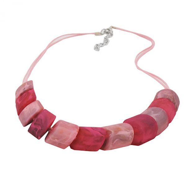 Kette Schrägperle rosa-pink, Kordel