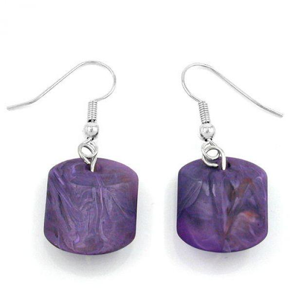 Ohrhaken, Schrägperle lila-marmoriert