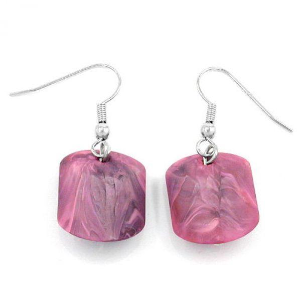 Ohrhaken, Schrägperle rosa-marmoriert