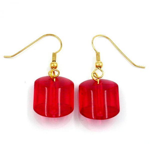 Ohrhaken, Schrägperle rot-transparent