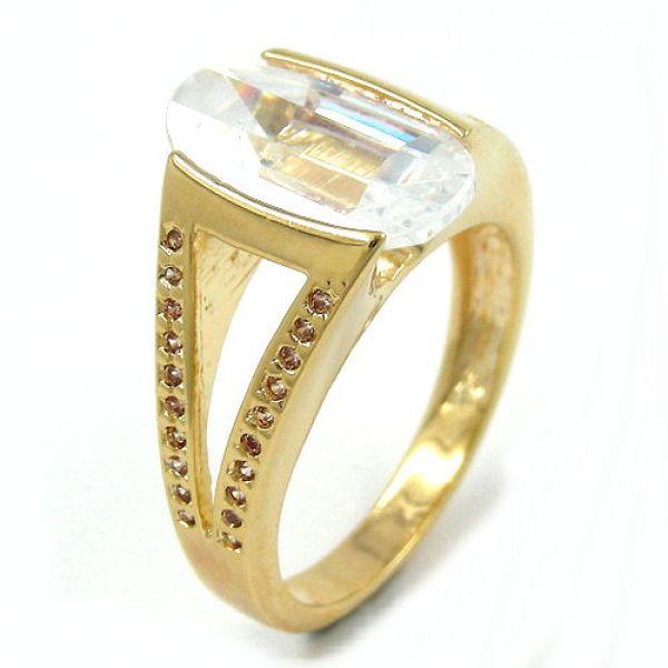 Ring, 14mm gold-plattiert Zirkonia