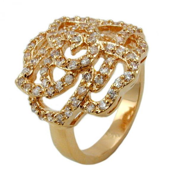 Ring, Zirkonia, gold-plattiert 3 Micron