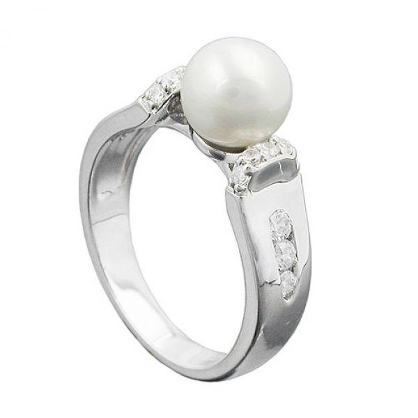 Ring, Zuchtperle, Zirkonias, Silber 925