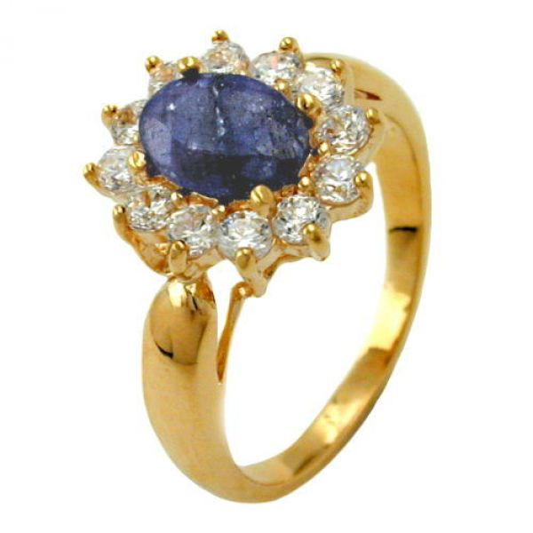 Ring Lapislazuli gold-plattiert 3 Micron