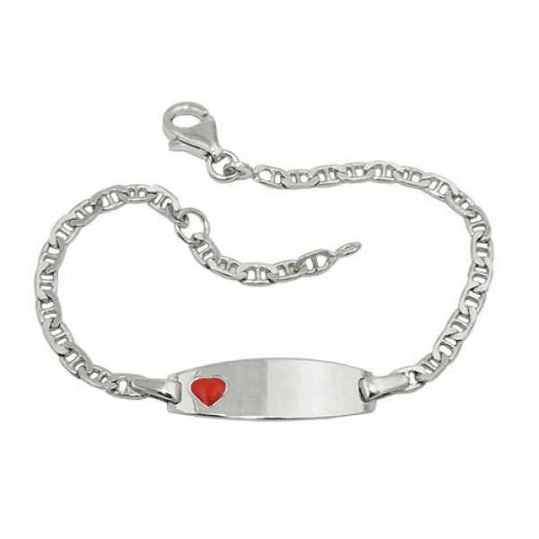 Schildband Kinder rotes Herz Silber 925