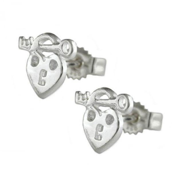 Stecker, Herz mit Schlüssel, Silber 925