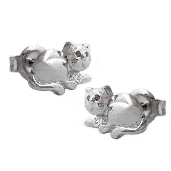 Stecker, Katze, rhodiniert, Silber 925