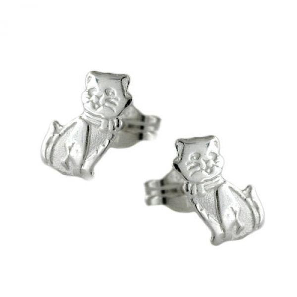 Stecker, Katze matt-glänzend, Silber 925