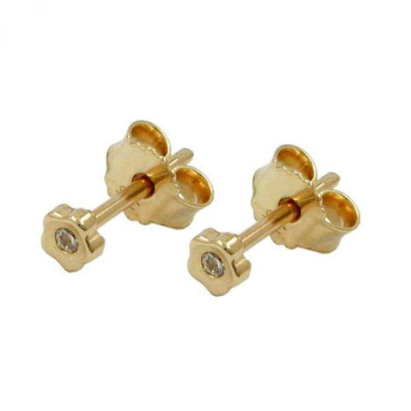 Stecker, kleine Blume Zirkonia 9Kt GOLD