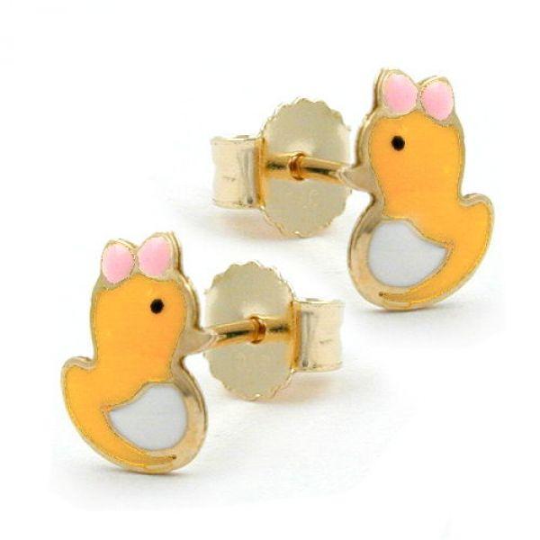 Stecker, kleine Ente, 9Kt GOLD