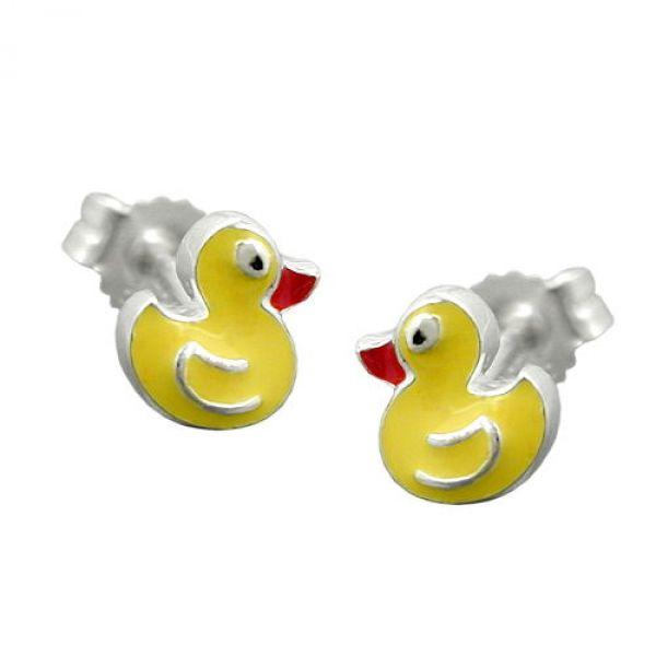 Stecker, kleine gelbe Ente, Silber 925