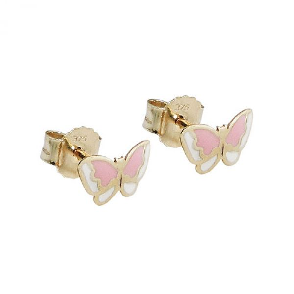 Stecker, Schmetterling rosa, 9Kt GOLD