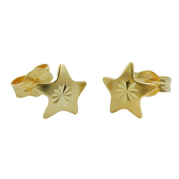 Stecker, Stern diamantiert, 8Kt GOLD