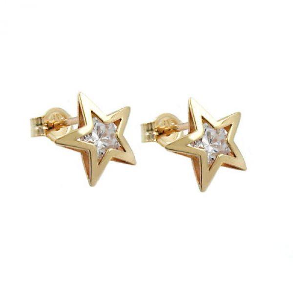 Stecker, Stern mit Zirkonia, 9Kt GOLD