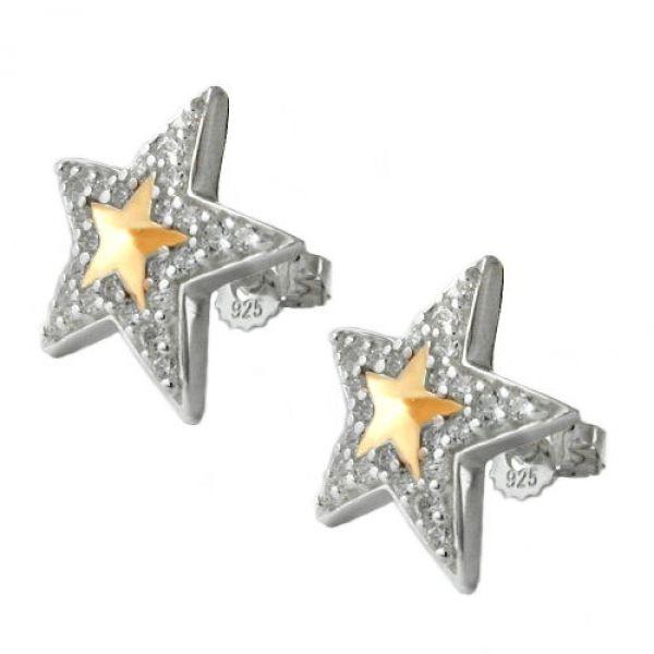 Stecker, Stern mit Zirkonia, Silber 925