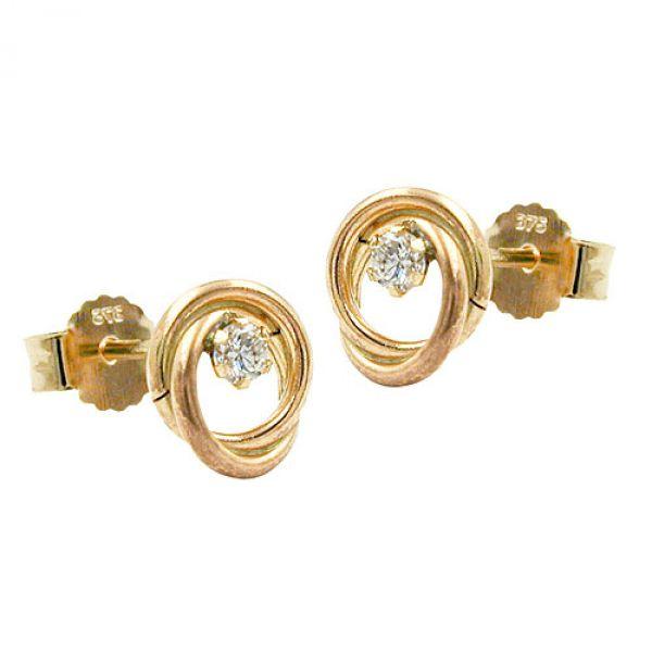 Stecker, Zirkonia, 2 Kreise, 9Kt GOLD