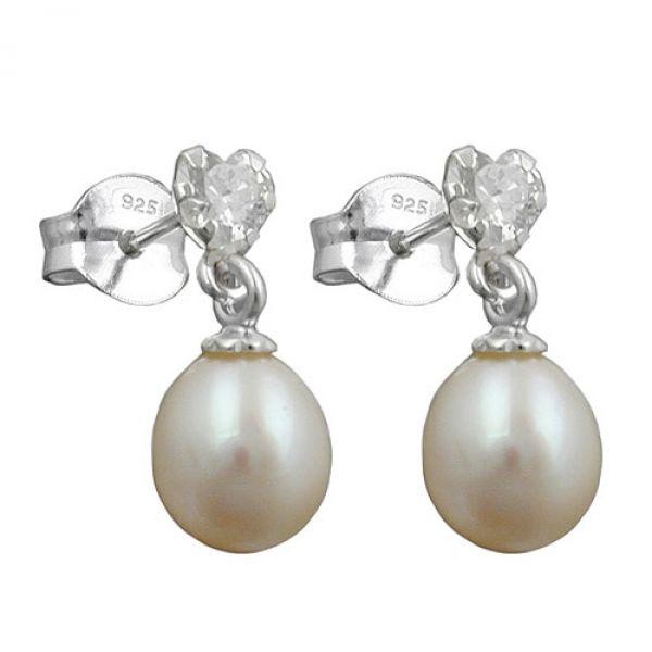 Stecker, Zirkonia mit Perle, Silber 925