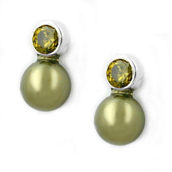 Stecker, Zirkonia-oliv, Perle Imitat 925