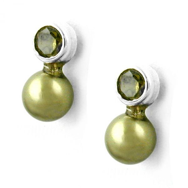 Stecker, Zirkonia oliv, Perle Imitat 925