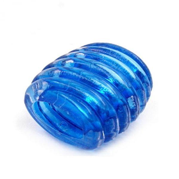 Tuchperle, 35, Spirale, blau-transparent