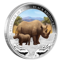 Tuvalu - 1 TVD Wildlife in Need Black Rhino 2012 - 1 Oz Silber